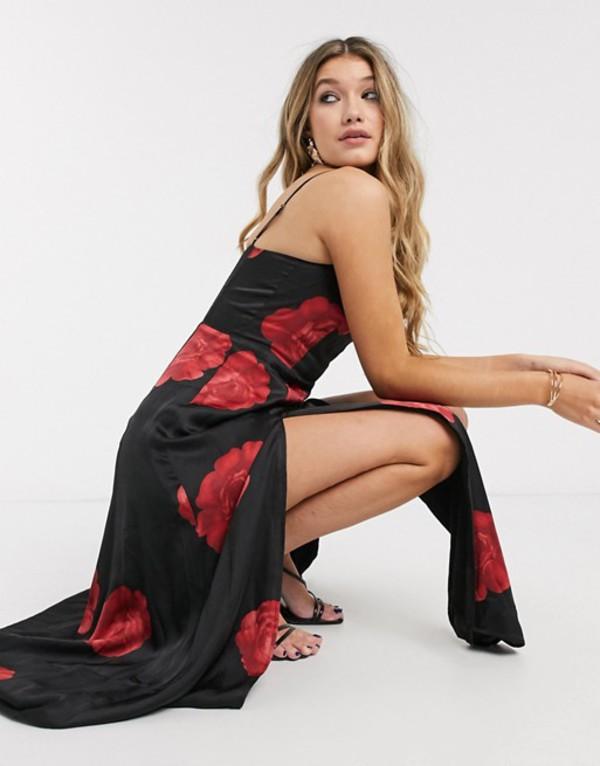 カプレット レディース ワンピース トップス Capulet dalia maxi satin slip dress with slit in rose print Rose print