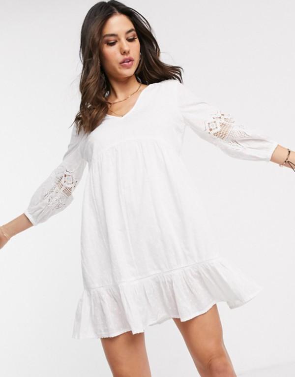 アクセサライズ レディース ワンピース トップス Accessorize mini beach dress with sleeve detailing in white White