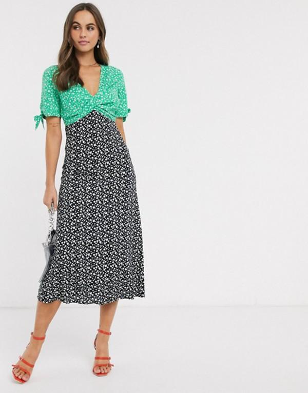 エイソス レディース ワンピース トップス ASOS DESIGN mixed floral print twist front midi tea dress Floral print