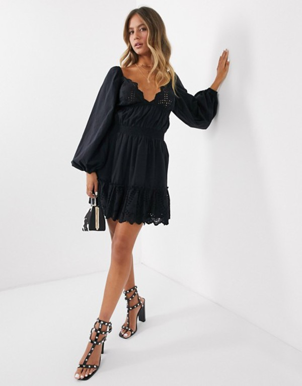 エイソス レディース ワンピース トップス ASOS DESIGN sweetheart broderie mini dress with elasticated waist and long sleeves Black