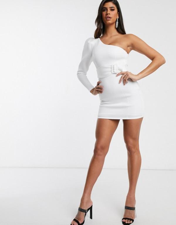 エイソス レディース ワンピース トップス ASOS DESIGN one shoulder long sleeve belted mini dress White