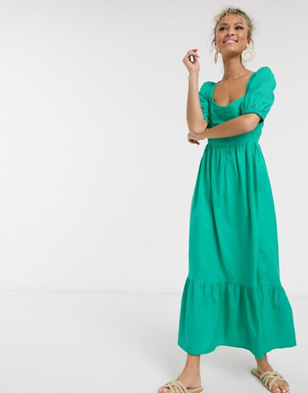 エイソス レディース ワンピース トップス ASOS DESIGN tiered maxi dress with puff sleeves and open back Green