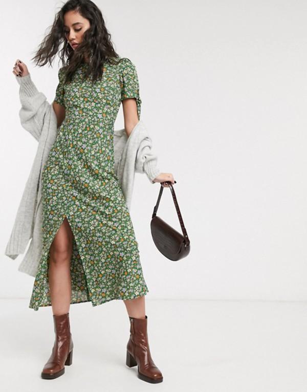エイソス レディース ワンピース トップス ASOS DESIGN maxi tea dress with tie sleeves in ditsy floral print Green based floral