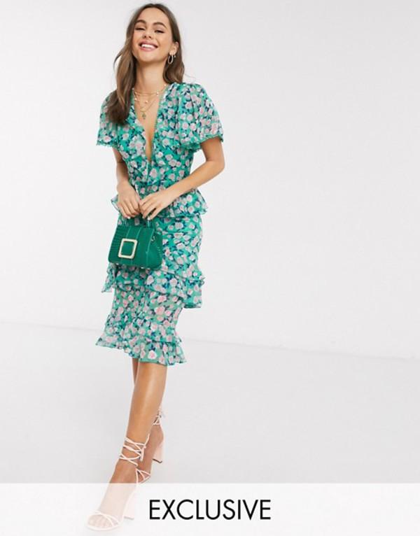 ダークピンク レディース ワンピース トップス Dark Pink puff sleeve ruffle midi dress in blue disty floral Blue floral