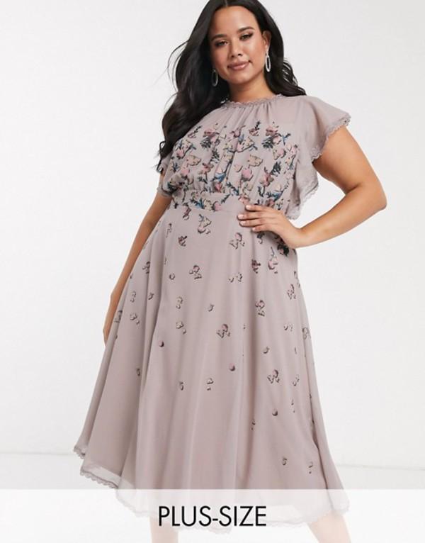 リトルミストレス レディース ワンピース トップス Little Mistress Plus ruffle midi dress in butterfly print Multi