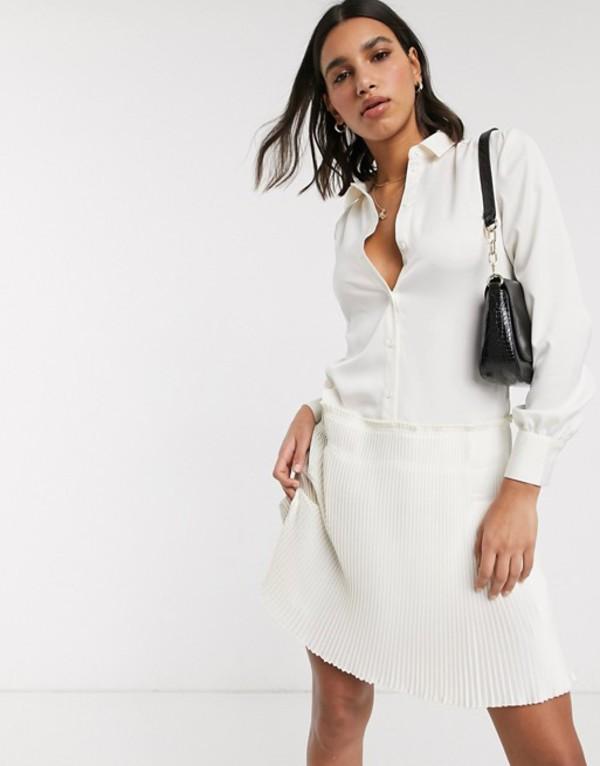 ワイエーエス レディース ワンピース トップス Y.A.S shirt dress with pleated hem in cream Star white
