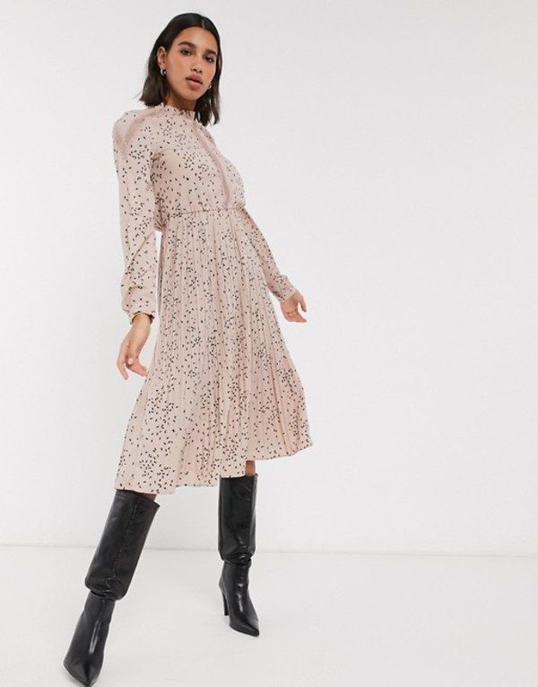 ヴェロモーダ レディース ワンピース トップス Vero Moda pleated midi dress with lace insert in pink ditsy PRINT Multi