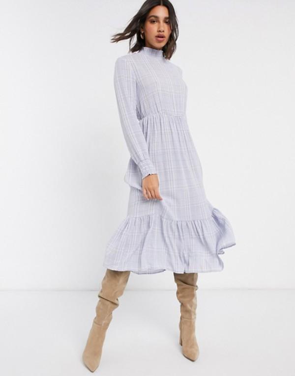 ヴィラ レディース ワンピース トップス Vila midi dress with high neck in blue check Multi