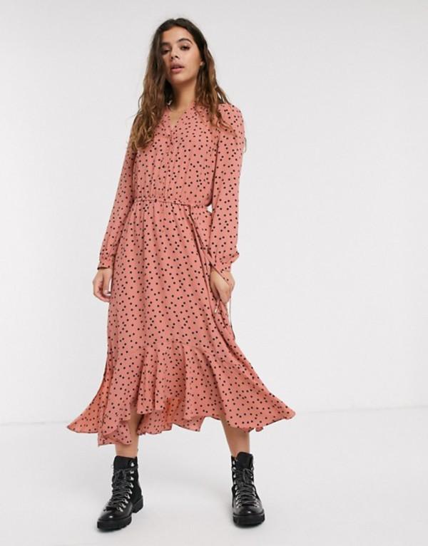 オアシス レディース ワンピース トップス Oasis polka dot midi shirt dress in pink Dusty pink