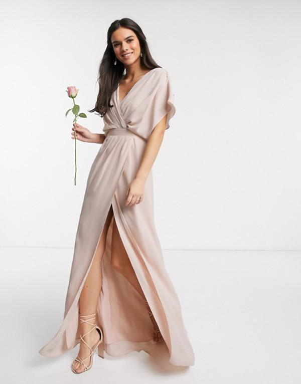 エイソス レディース ワンピース トップス ASOS DESIGN Bridesmaid short sleeved cowl front maxi dress with button back detail Soft blush