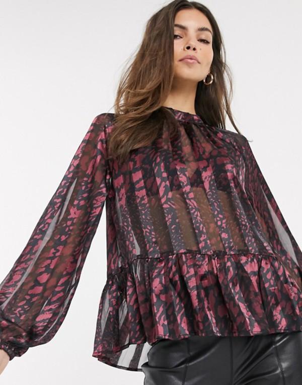 リバーアイランド レディース シャツ トップス River Island ruffled blouse in red print Red print