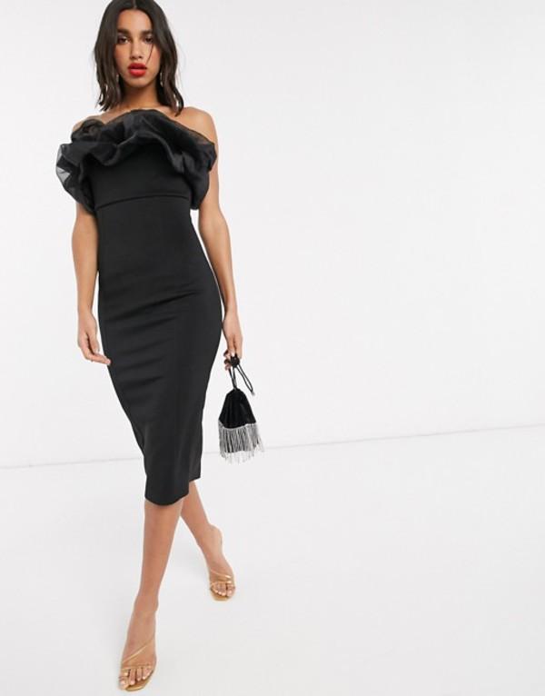 エイソス レディース ワンピース トップス ASOS DESIGN organza bubble bandeau midi dress Black