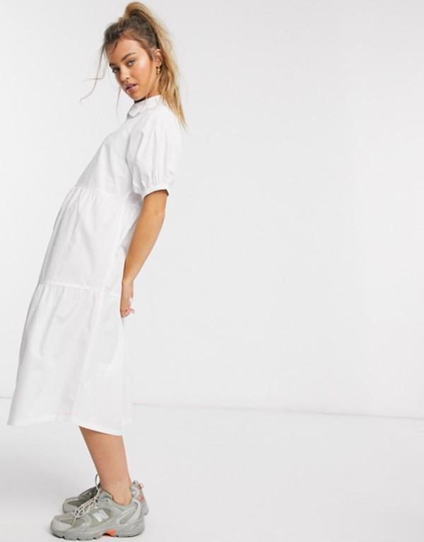 デイジーストリート レディース ワンピース トップス Daisy Street midaxi smock dress with tiered skirt and puff sleeves in cotton White