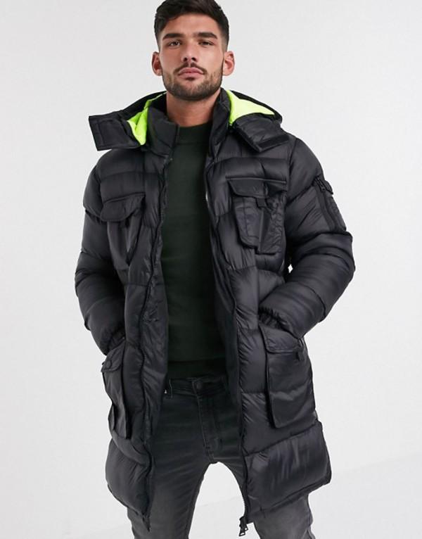 ブレーブソウル メンズ ジャケット・ブルゾン アウター Brave Soul utility padded longline jacket with neon lining hood Black
