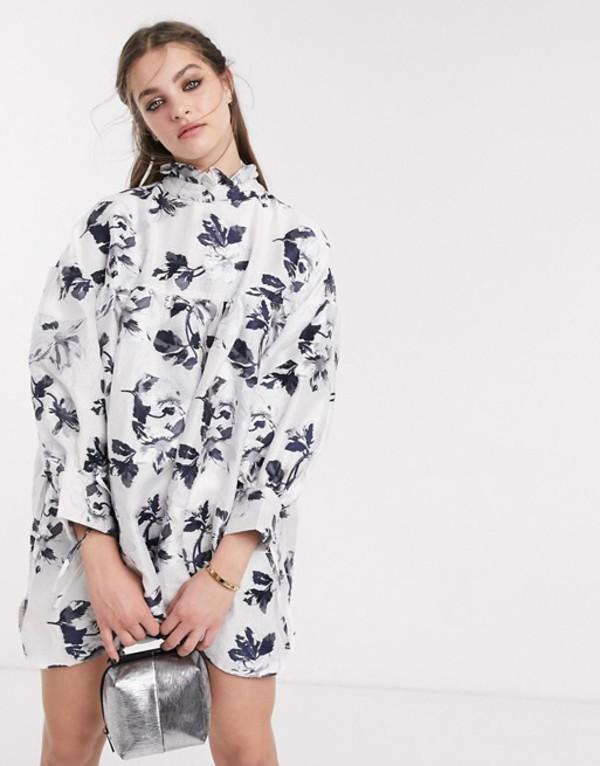 シスタージュン レディース ワンピース トップス DREAM Sister Jane mini smock dress with tie cuffs in vintage floral Black and white