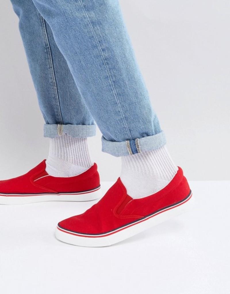 ブレーブソウル メンズ スニーカー シューズ Brave Soul Retro Slip On Sneakers Red