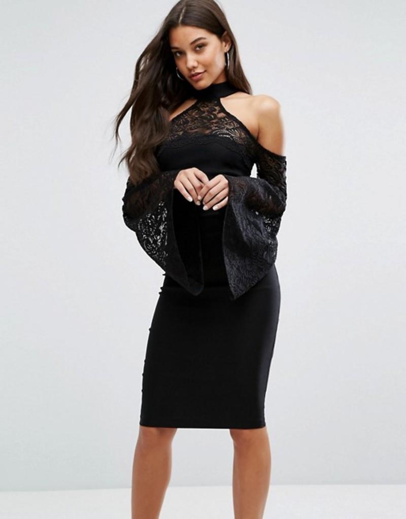 ベスパー レディース ワンピース トップス Vesper High Neck Midi Dress with Lace Detail and Exaggerated Bell Sleeve Black