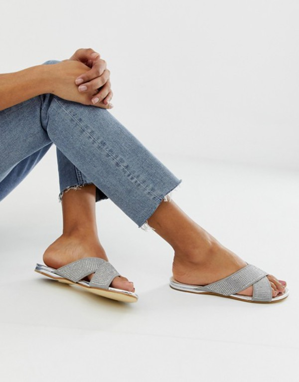 オフィス レディース サンダル シューズ OFFICE show off embellished flat sandals Gray/silver