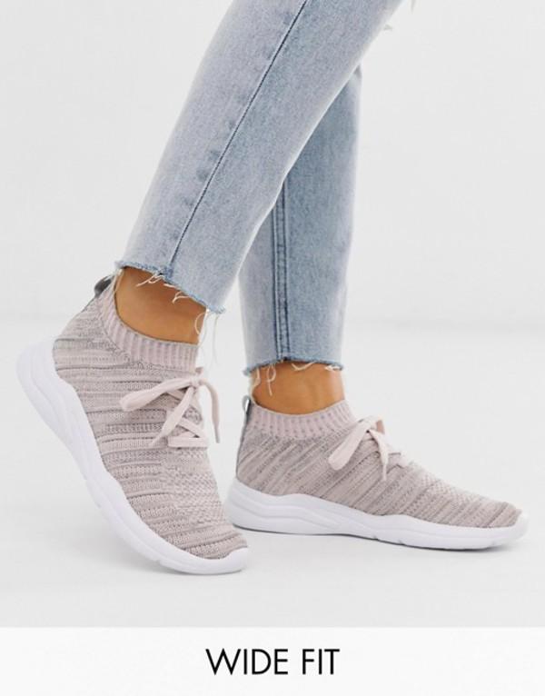 エイソス レディース スニーカー シューズ ASOS DESIGN Wide Fit Discus sneakers in gray and peach Gray/peach