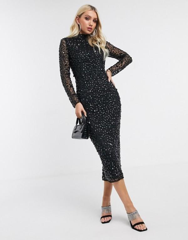 エイソス レディース ワンピース トップス ASOS DESIGN all over gem embellished midi dress Black