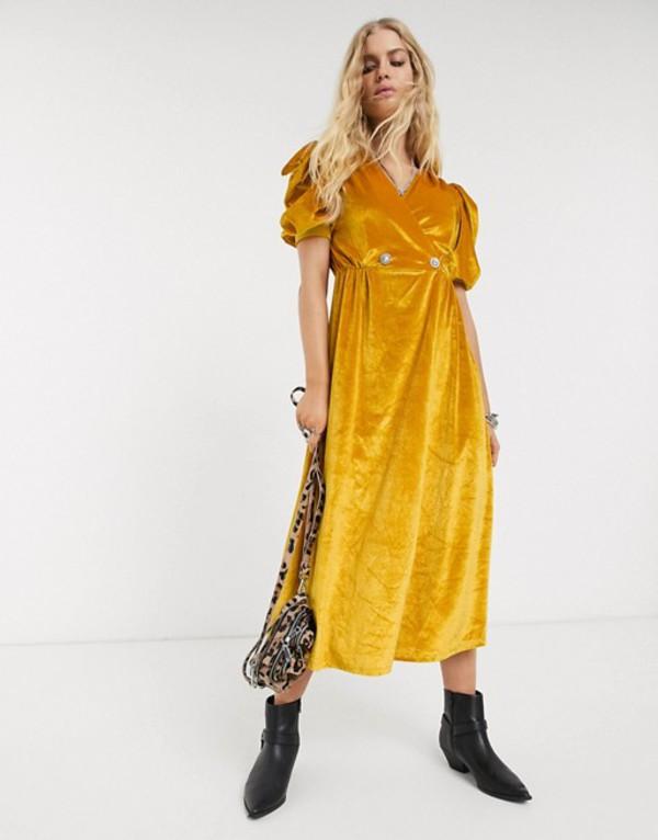 エイソス レディース ワンピース トップス ASOS DESIGN velvet midi dress with puff sleeve and rhinestone button Ochre