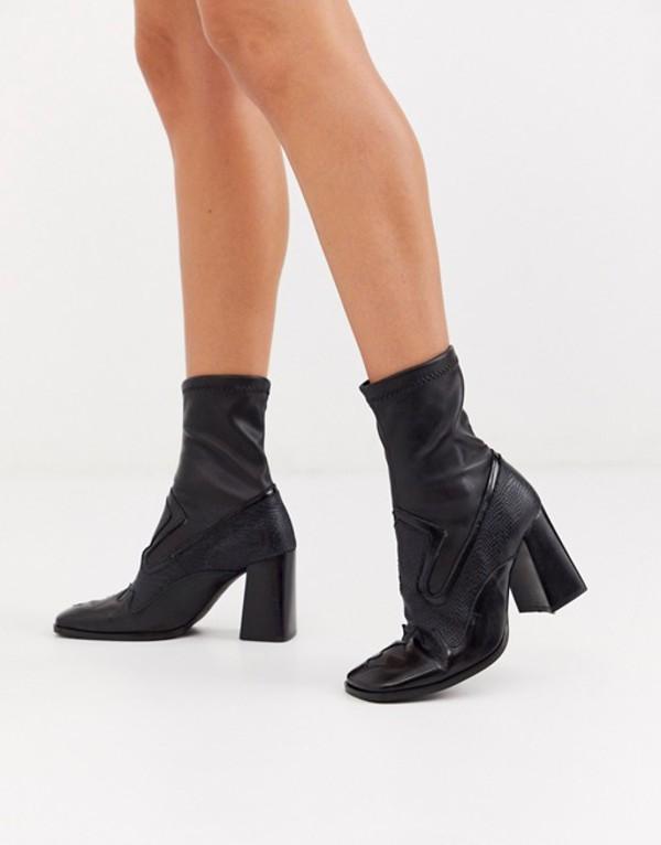 エイソス レディース ブーツ・レインブーツ シューズ ASOS DESIGN Evan premium leather western sock boots in black Black leather