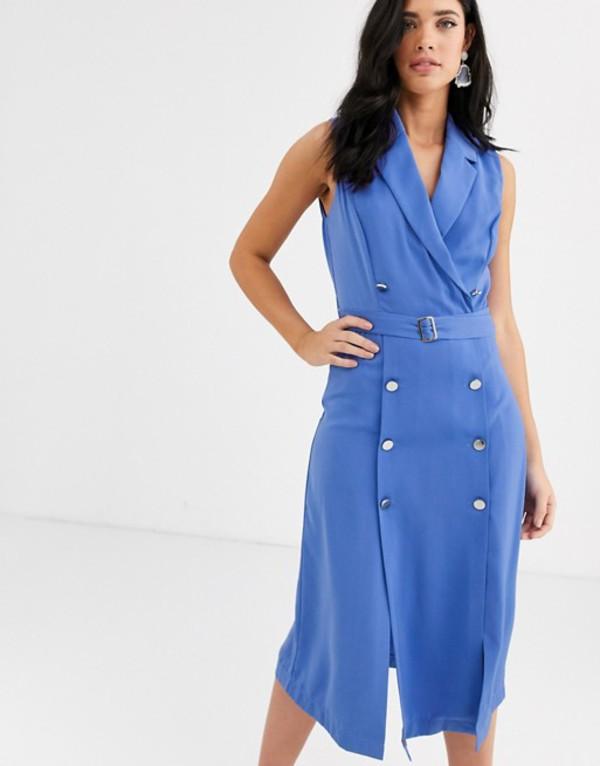 リクオリッシュ レディース ワンピース トップス Liquorish double breasted blazer midi dress in blue Blue