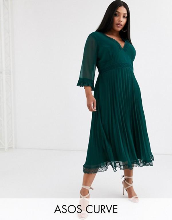 エイソス レディース ワンピース トップス ASOS DESIGN Curve pleated midi dress with lace inserts Forest green