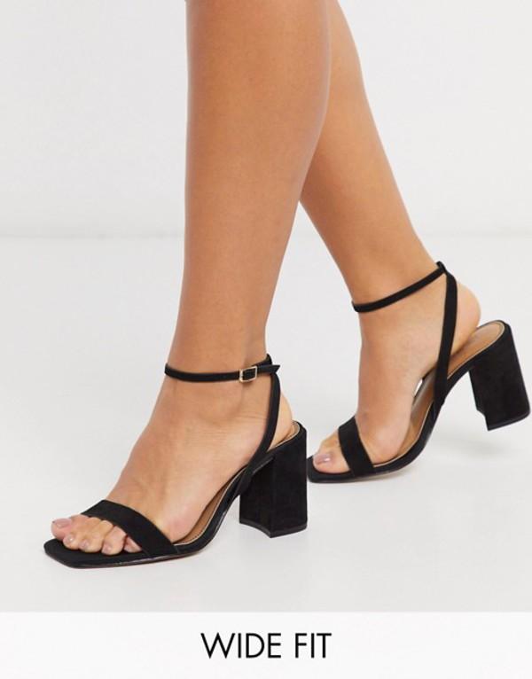エイソス レディース サンダル シューズ ASOS DESIGN Wide Fit Havana barely there block heeled sandals in black Black
