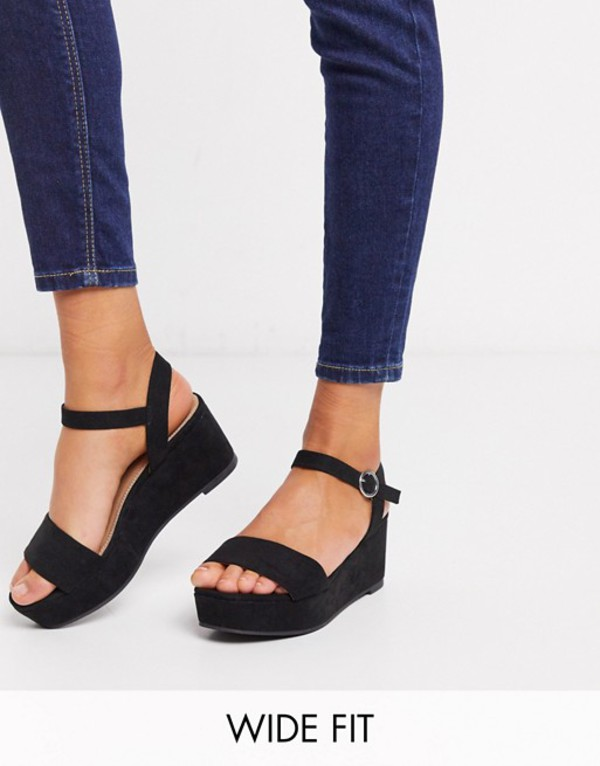 エイソス レディース サンダル シューズ ASOS DESIGN Wide Fit Tallie flatform sandals in black Black