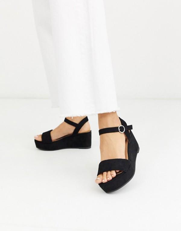 エイソス レディース サンダル シューズ ASOS DESIGN Tallie flatform sandals in black Black