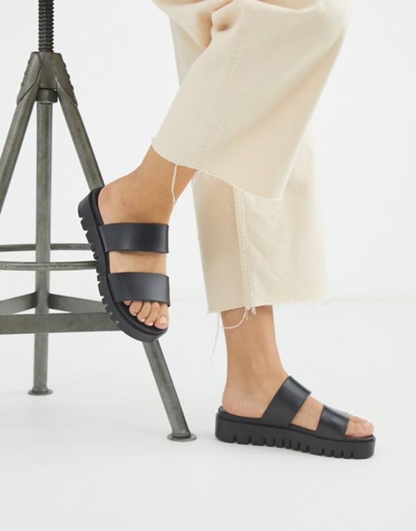 エイソス レディース サンダル シューズ ASOS DESIGN Fletch chunky jelly flat sandals in black Black