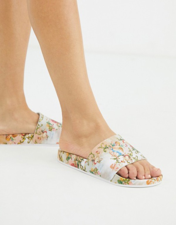 エイソス レディース サンダル シューズ ASOS DESIGN Foiled pool slider in cherub print Cherub print