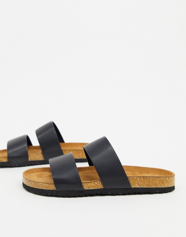 エイソス レディース サンダル シューズ ASOS DESIGN Fraser double strap mule sandal in black Black