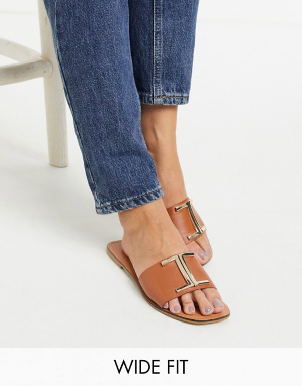 エイソス レディース サンダル シューズ ASOS DESIGN Wide Fit Factor leather flat sandals in tan Tan