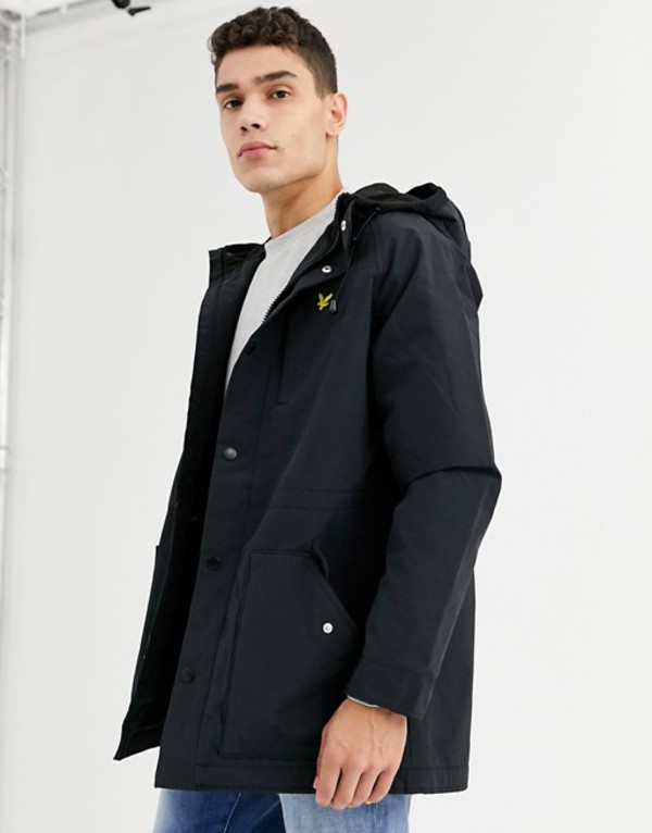ライルアンドスコット メンズ コート アウター Lyle & Scott microfleece lined parka coat Black