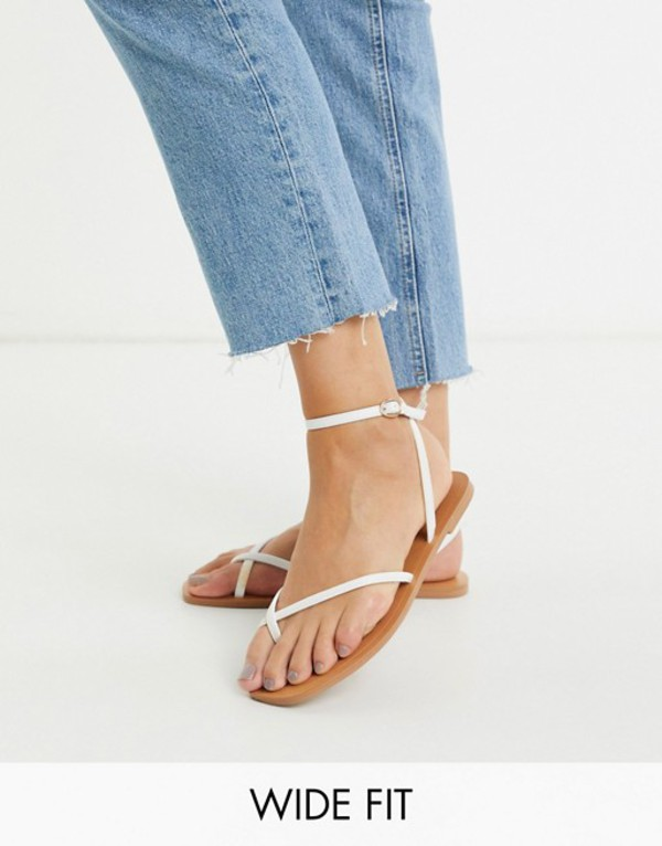 エイソス レディース サンダル シューズ ASOS DESIGN Wide Fit Farnborough minimal toe loop flat sandals in white White