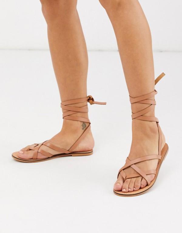 エイソス レディース サンダル シューズ ASOS DESIGN Framed strappy leather sandal in tan Tan