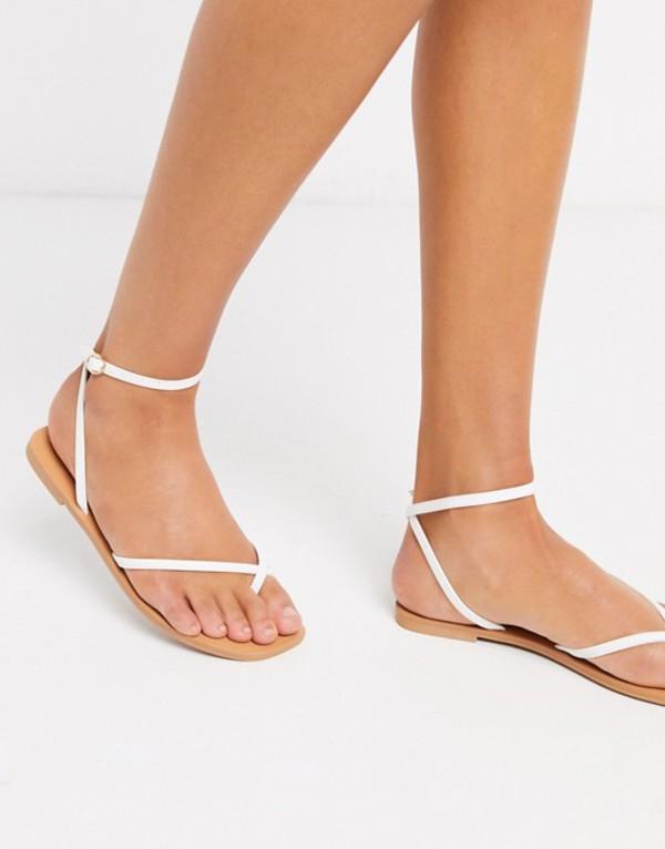 エイソス レディース サンダル シューズ ASOS DESIGN Farnborough minimal toe loop flat sandals in white White