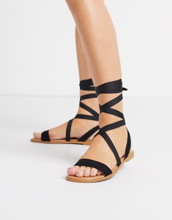 エイソス レディース サンダル シューズ ASOS DESIGN Finland tie leg flat sandals in black Black