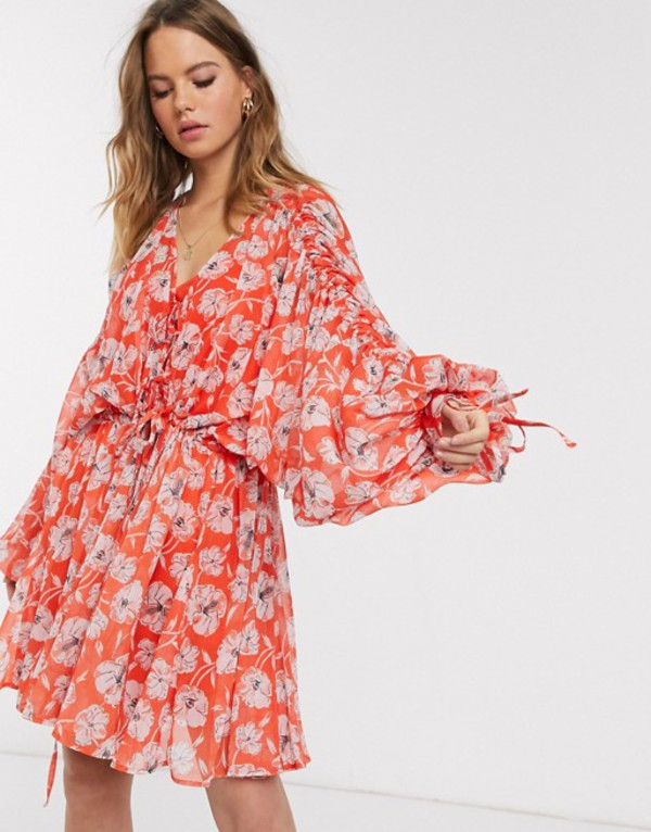 エイソス レディース ワンピース トップス ASOS DESIGN soft tiered mini dress with drawstring details in red poppy floral Red floral print