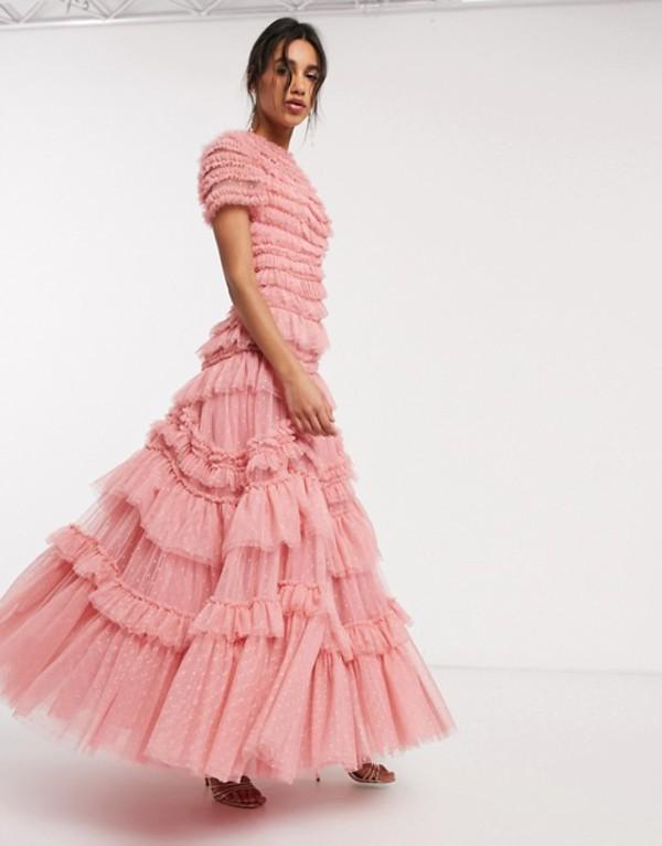 ニードルアンドスレッド レディース ワンピース トップス Needle & Thread layered tulle maxi dress in rose pink Rose pink