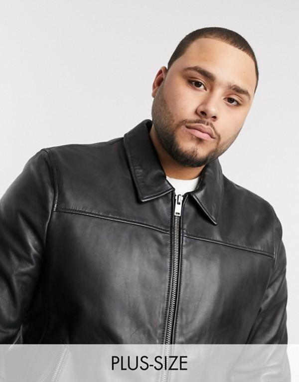 ボロンガロトレバー メンズ ジャケット・ブルゾン アウター Bolongaro Trevor Plus slim fit leather jacket Black