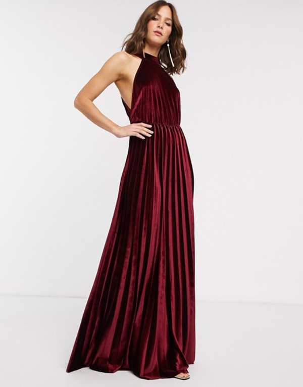 エイソス レディース ワンピース トップス ASOS DESIGN halter pleated waisted maxi dress in velvet Oxblood
