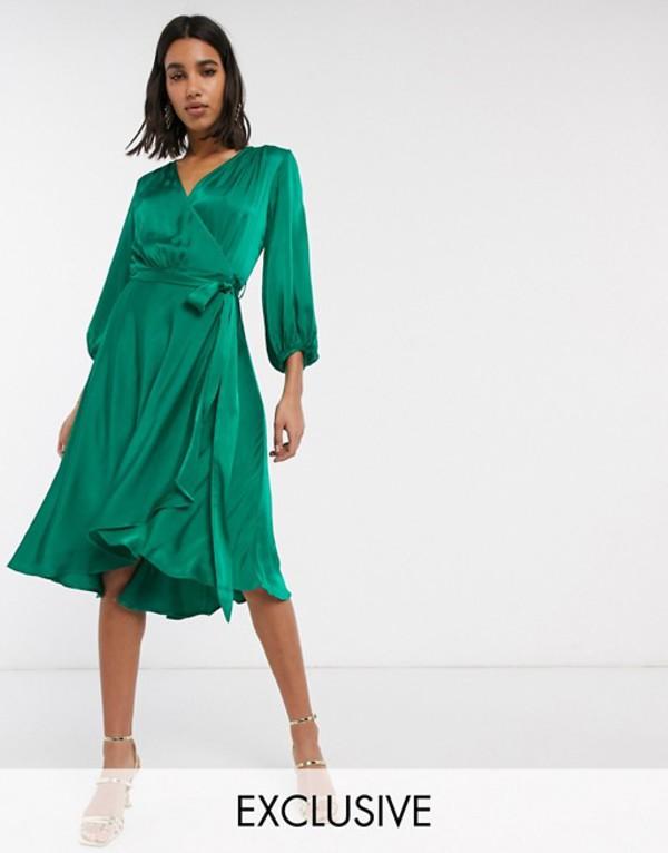 ゴースト レディース ワンピース トップス Ghost exclusive aggie satin midi wrap dress Green