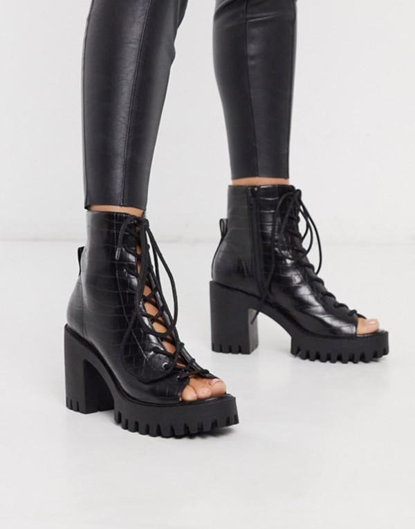 パブリックデザイア レディース ブーツ・レインブーツ シューズ Public Desire Bassline cleated lace up peep toe ankle boot in black mock croc Black croc