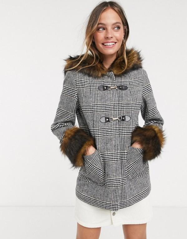 ミスセルフフリッジ レディース コート アウター Miss Selfridge faux fur trim duffle coat in check Check