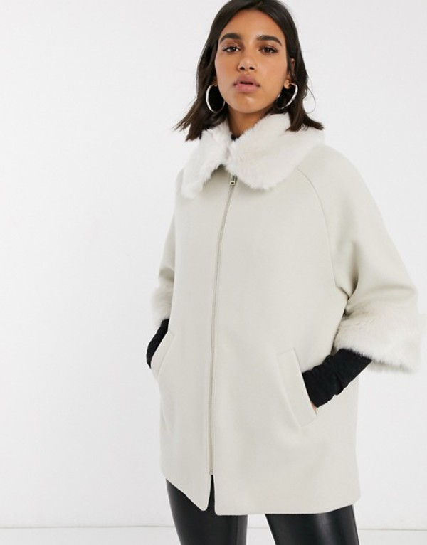 リバーアイランド レディース コート アウター River Island faux fur detail coat in beige Beige