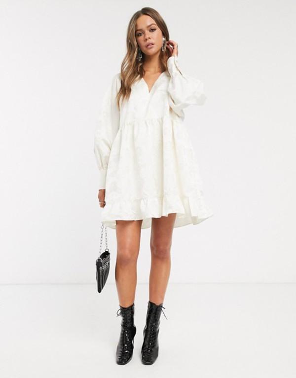 シスタージュン レディース ワンピース トップス Sister Jane mini smock dress in textured jacquard Ivory