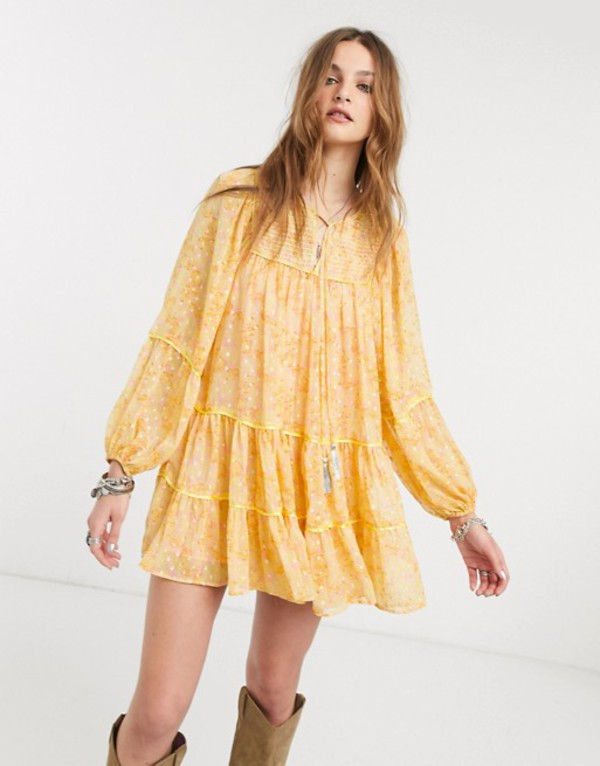 フリーピープル レディース ワンピース トップス Free People free swinging balloon sleeve mini dress Yellow combo